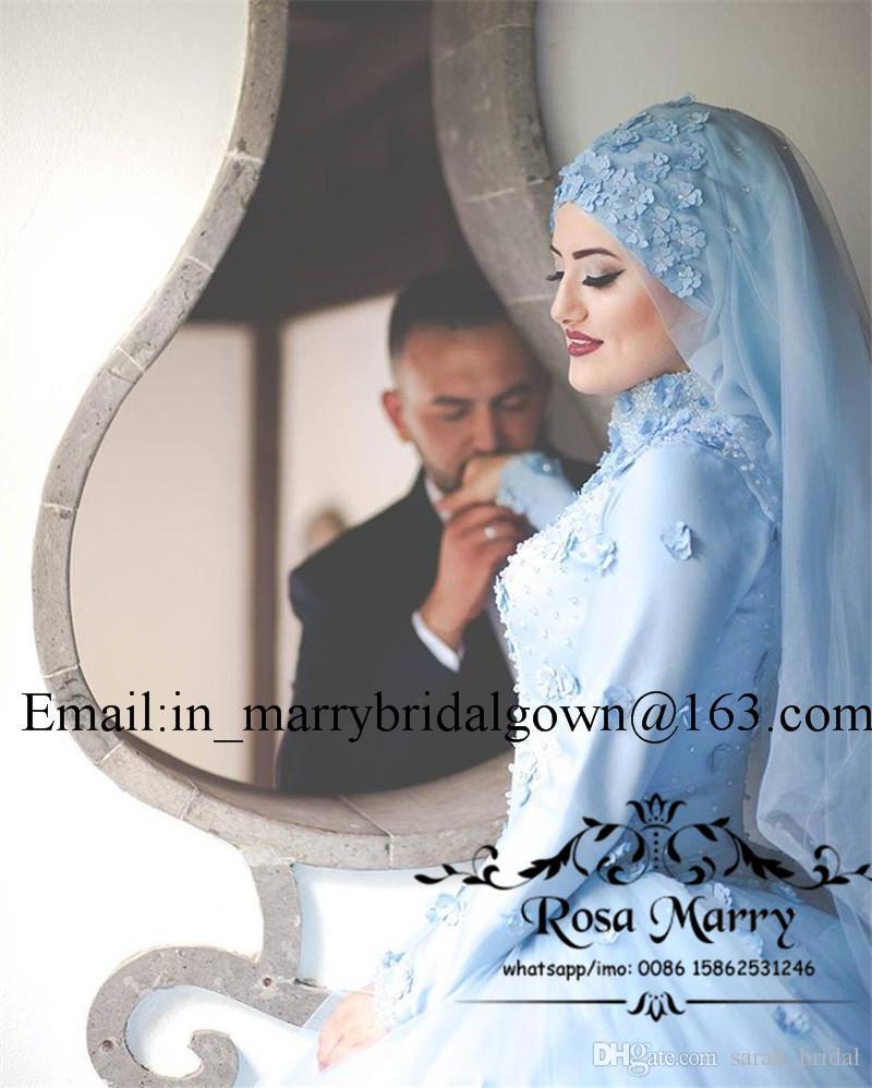 Hellblau Islamic Hijab 3D Floral Brautkleider 2020 Ballkleid High Neck Long Sleeves Perlen Plus Size Land Kaftan Abayas Brautkleider