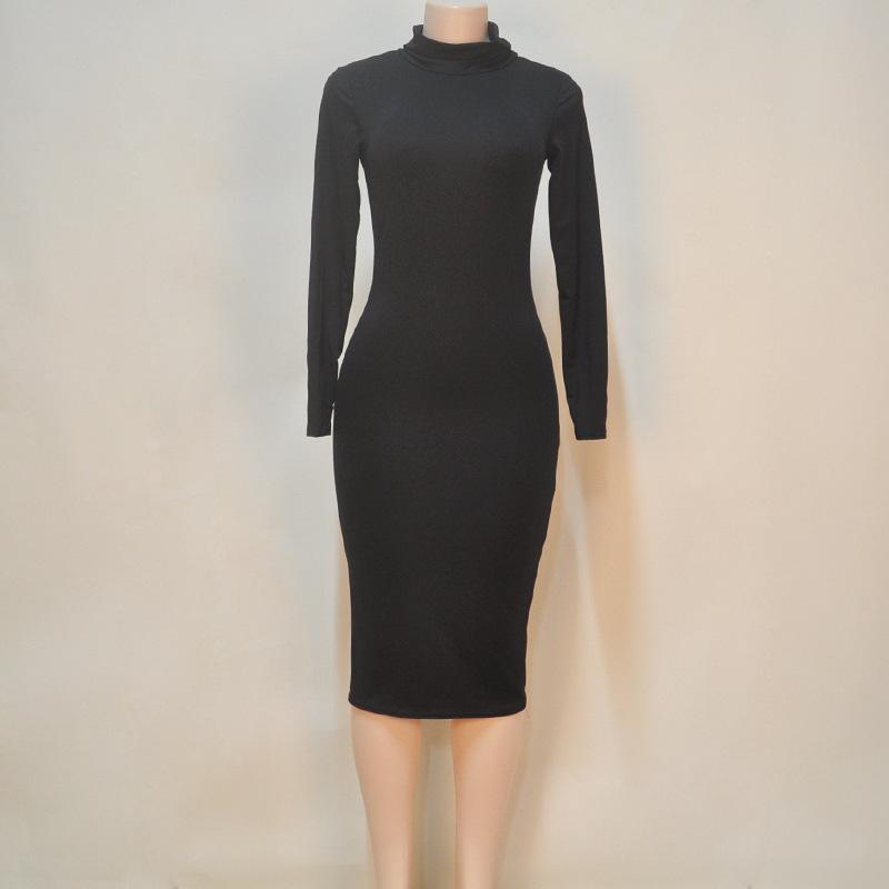 Women Elegant Temperament Quality turtleneck Dresses Long Sleeve Bodycon Casual Dress Soft Cotton Stretch Black Party Dresses Sexy Club Wear