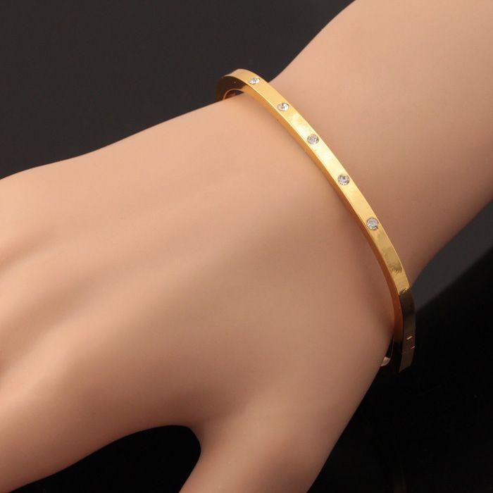 ファッションバングル18Kリアルゴールドメッキオーストリアラインストーンカフブレスレット、女性ジュエリー卸売yh5180のための高品質のバングル