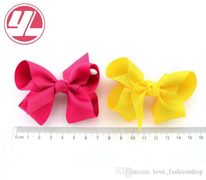 Niños Bebé Arcos de la cinta con clip Arcos de color sólido Clip Bebé Accesorios para el cabello Arco para el cabello Boutique Pinzas para el cabello Pinzas para el cabello de Navidad Pinza de cocodrilo