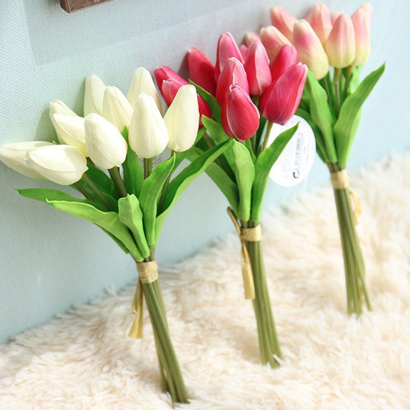 Grosshandel 10 Stucke Pack Kunstliche Tulpe Blumen Einzigen Langen
