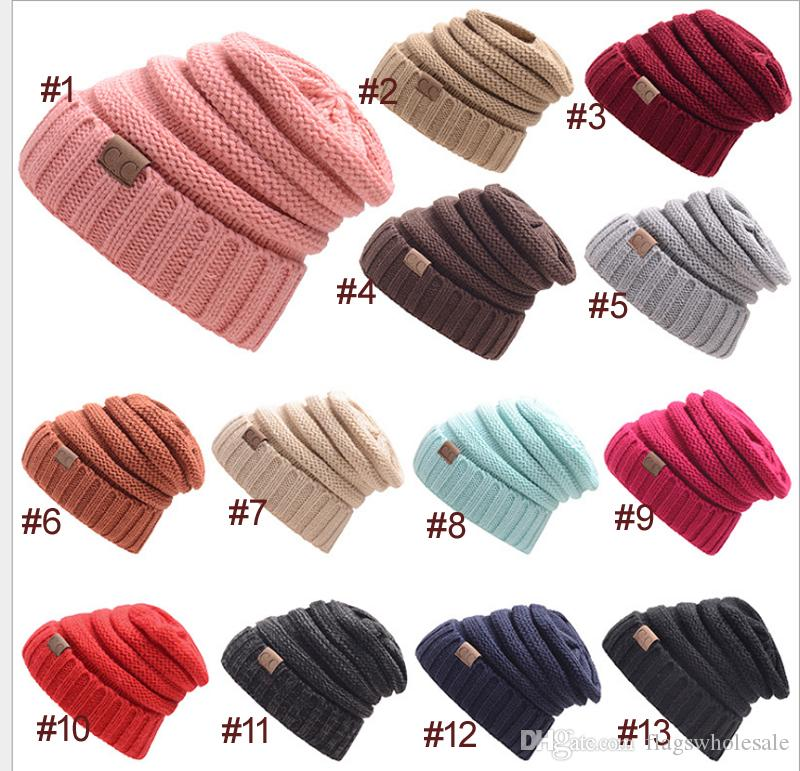 DHL Free CC Knitted Hats CC Trendy Winter Beanie Warm Oversized Chunky  Skull Caps Soft Cable Knit Slouchy Crochet Hats Outdoor Hatsn CC Knitted  Hats Crochet ... 9e2ad1ceaa23