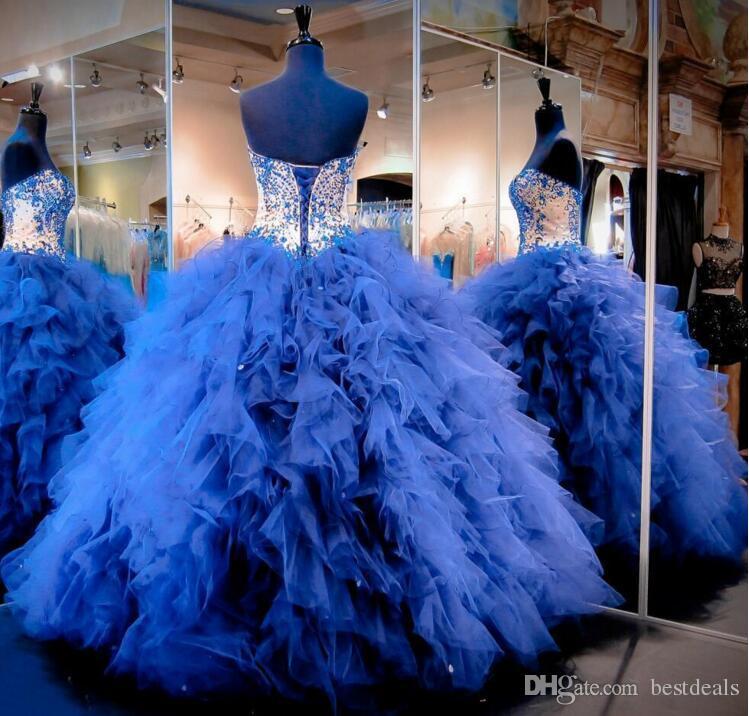 2016 로얄 블루 캐스케이드 러프 Tulle Quinceanera Dresses 주니어 페르시 크리스탈 달콤한 16 개의 긴 댄스 파티 가운 정식 미인 드레스