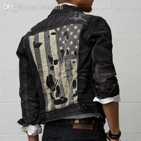 Fall Patch Designs Mens Distressed Denim Jacket Ripped Vintage ...