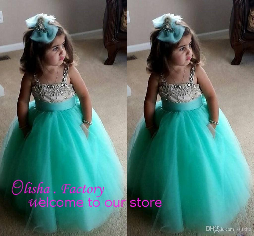 Mint Green And Pink Ball Gown Flower Girls Dresses With Crystal ...