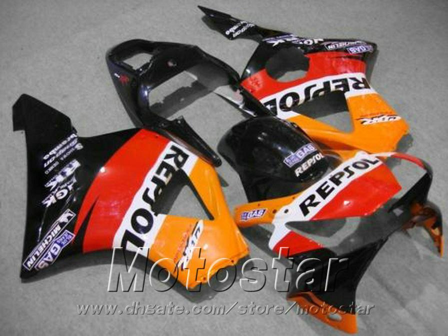 Free customize fairing kit for HONDA CBR 900 RR CBR929 00 01 CBR900RR 2000 2001 red orange black REPSOL fairings set HB32