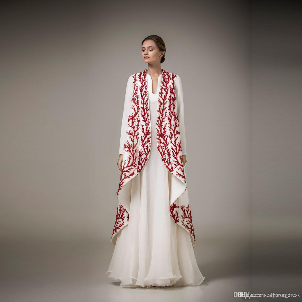 Elegante aplique blanco y rojo vestidos de noche Ashi Studio manga larga Una línea vestidos de fiesta formal ropa de fiesta de las mujeres del cabo solo abrigo