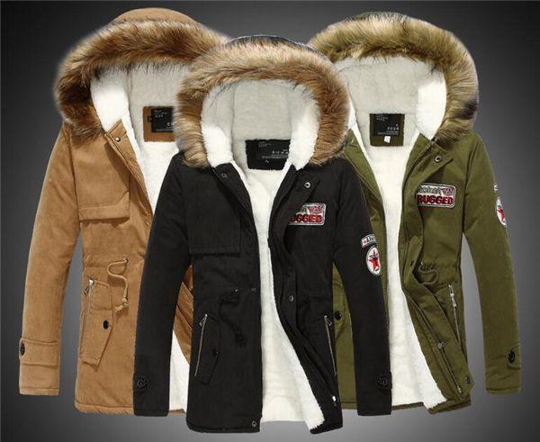 Grande Taille S-4XL Hiver Russe Hommes Manteau De Fourrure Armée Vert Outwear Manteaux Militaire Man Veste Hombre Hiver Veste Hommes coton Parkas Manteaux
