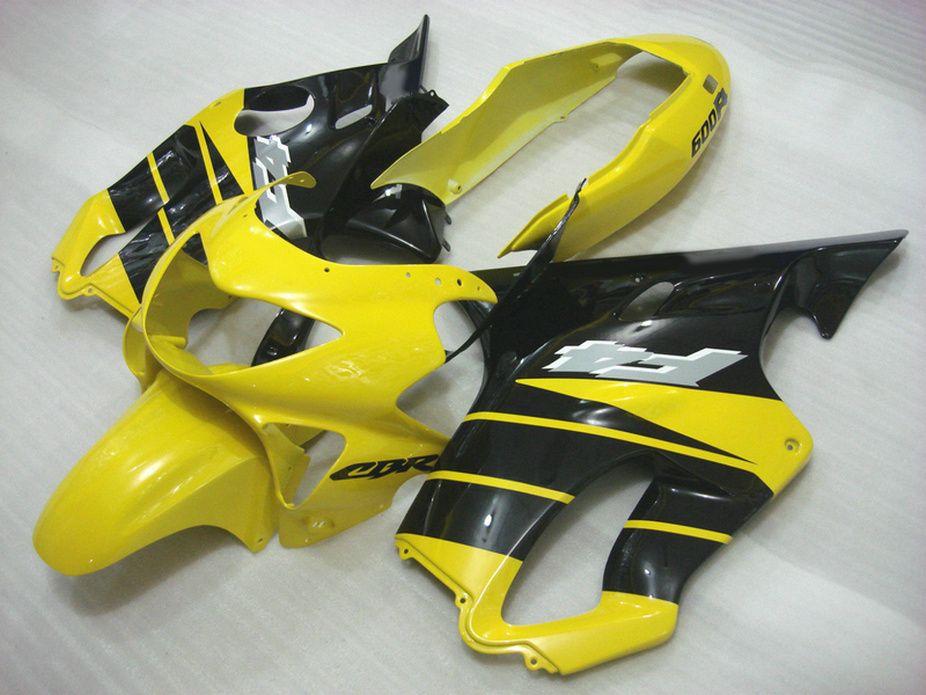 7Gifts amarillas carenados de la motocicleta negro para Honda CBR600 F4 99 00 kit de carrocería CBR 600 F4 1999 2000 carenado kit EIXH