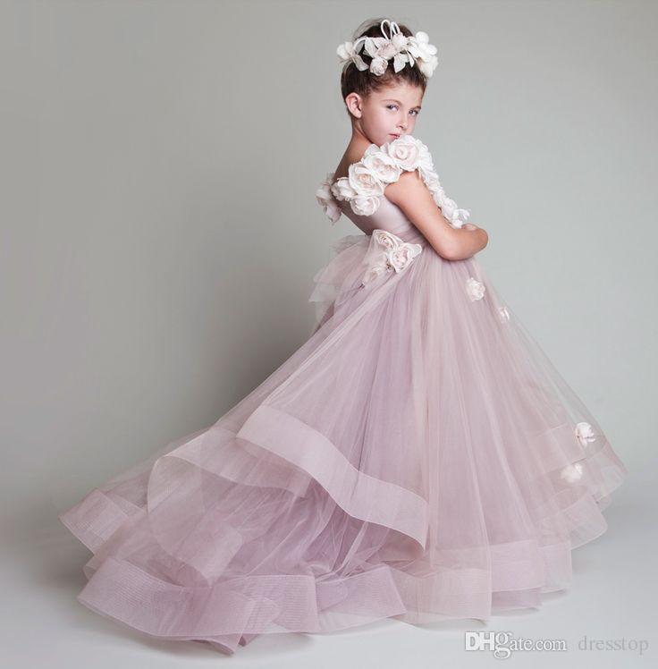 Vintage Krikor Jabotian Blumenmädchenkleider Kinder Für Hochzeiten Tiered Kid Erstkommunion Kleid Bodenlangen Little Girl Pageant Kleider