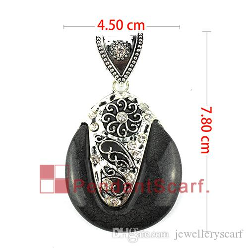 Fashion Design DIY Jewelry Pendant Scarf Findings Charm Black Resin Metal Necklace Scarf Pendant Accessories, AC0345B