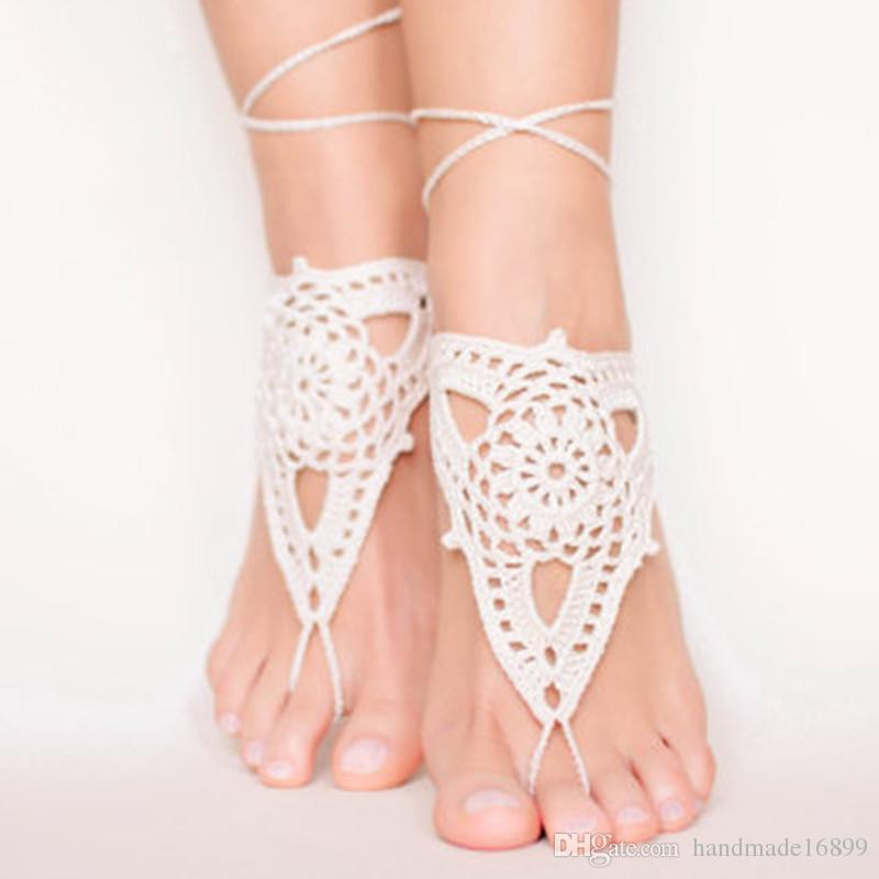 OR Beach White Crochet Barefoot Sandals Wedding Barefoot Sandals ... 55a948efa5bc