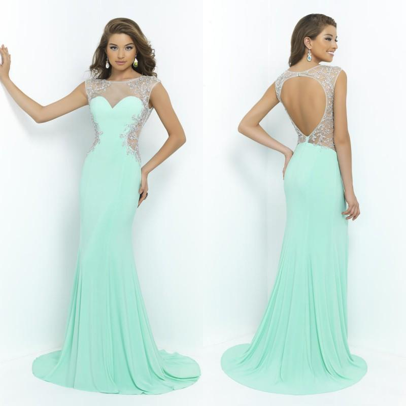 Blush 2015 Sparkly Mint Green Prom Dresses Sheer Illusion Sweep ...
