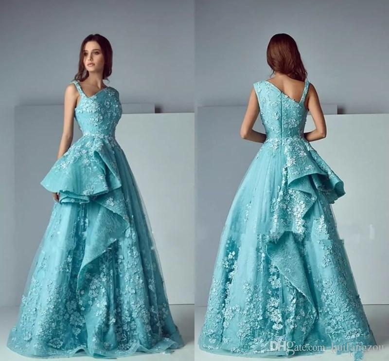 Modest Saiid Kobeisy 3d Lace Floral Prom Dresses Turquoise Peplum ...