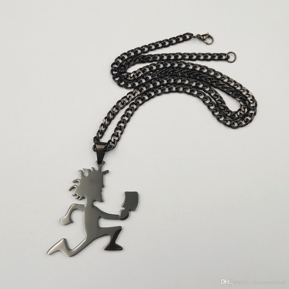 Navio livre Banhado A preto ICP Jóias Punk Aço Inoxidável grande 2 '' Hatchetman Juggalette Pingente com 5mm 24 polegadas Colar de Corrente Cubano