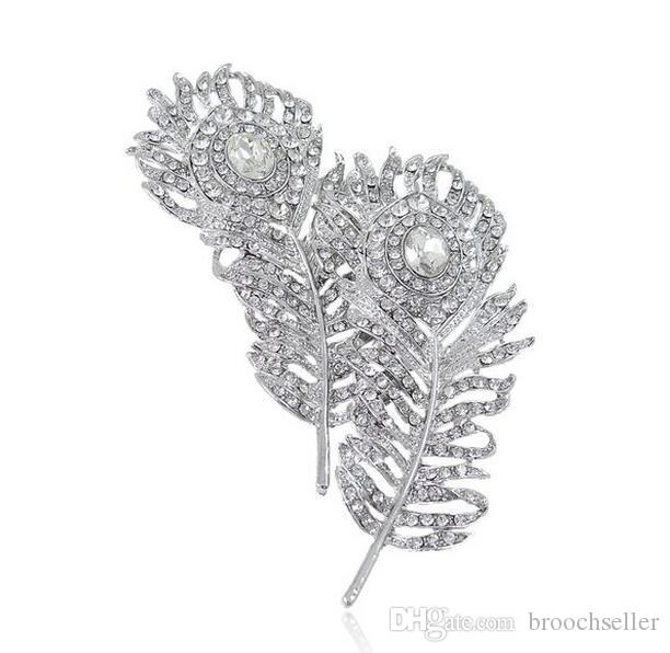Wholesale Large Size Vintage Look Rhodium Silver Tone Double Feather Bridal Brooch with Tiny Rhinestone Crystals