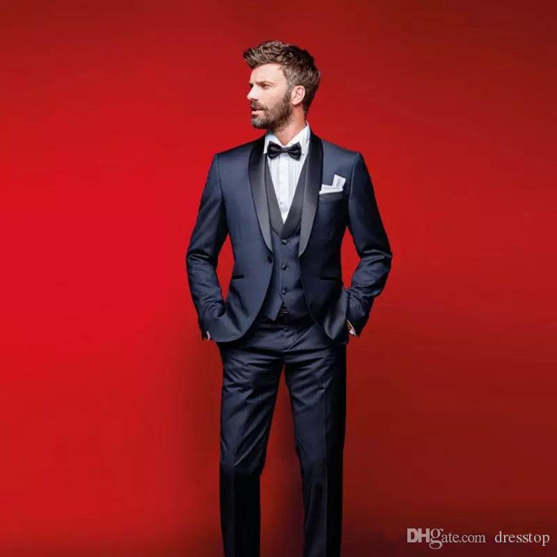 Gentlemen Navy Blue Wedding Tuxedos Slim Fit Suits For Men Groomsmen Suit  Three Pieces Cheap Prom Formal Suits Jacket +Pants+Vest+Bow Tie Tux With  Tail ... c1de13e056f