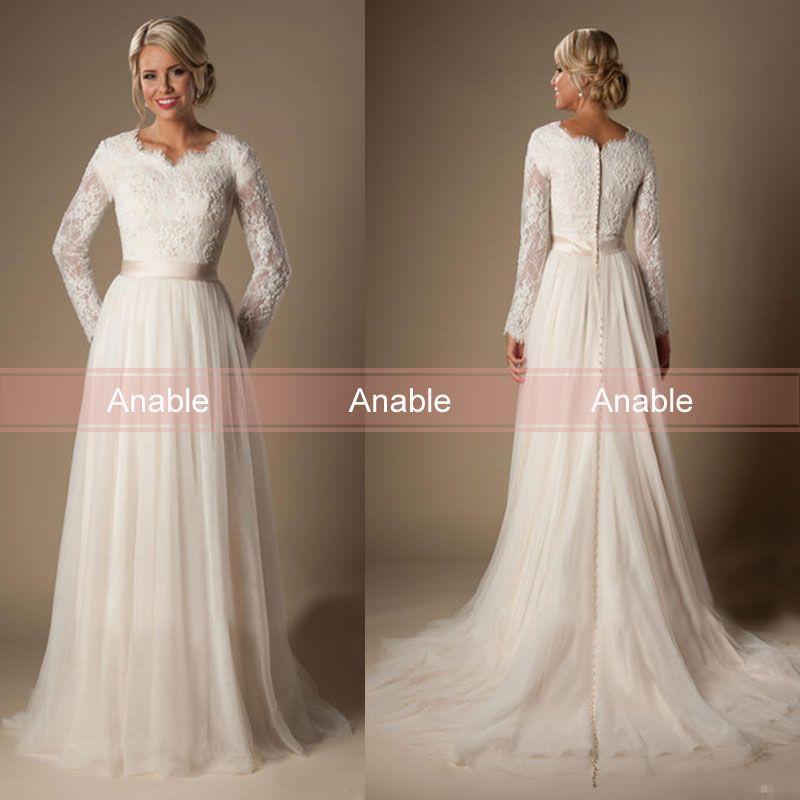 Discount 2017 Plus Size Modest Arabic Wedding Dresses Long Sleeves V