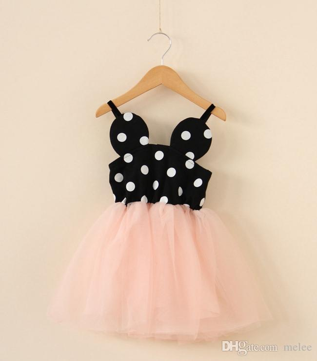 fd07227c85c7c 2019 Girls Polkar Dot Slip Dress Lace Tulle Dresses Smocked Waist Lace Mini  Dresses One Piece Suspender Dress Sz100 140 From Melee, $73.37 | DHgate.Com