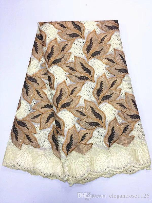 ig African Swiss Voile Lace High Quality Eyelet Cotton Swiss Lace Material Latest African Swiss Lace Fabric With Stones GYCL051