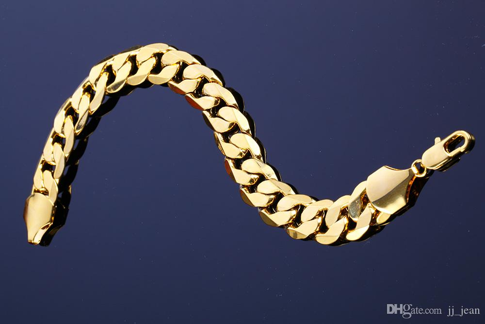 18K Yellow Gold Plated Bracelets 12MM Cuban Party For Men And Women Brand New Top Quality Link Chain Copper Fine Jewelry