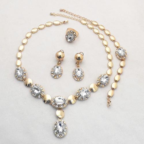 18K Złoto Wypełniony Dubaj Afryki White CZ Diament Austriacki Kryształ Naszyjnik Bransoletka Kolczyk Ring Wedding / Bride Jewelry Set 732