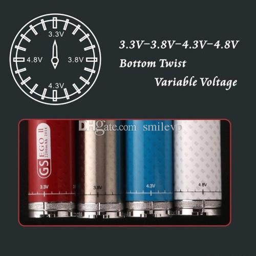 DHL Free 2200mAh EGO II Twist battery variable voltage 3.3v-4.8v E cigarette GS EGO 2 Twist Battery with Decoration Ring