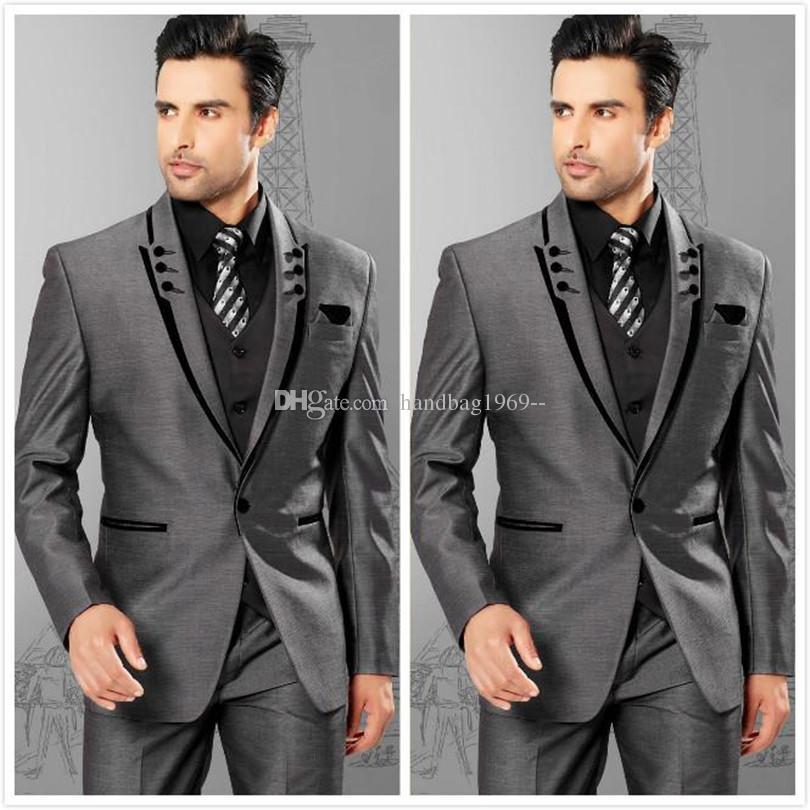 Yüksek Kalite Bir Düğme Gri Damat Smokin Tepe Yaka Groomsmen Mens Gelinlik Balo Suits Ceket + Pantolon + Yelek + Kravat H431