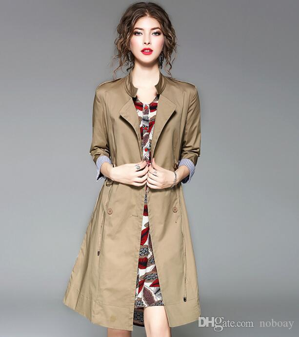56f3c4a577852 Women s Trench Coats 2018 Spring New Fashion Khaki Women s Clothing Trench  Coats Slim Outerwear Double Breasted European American Style Women s Trench  Coats ...