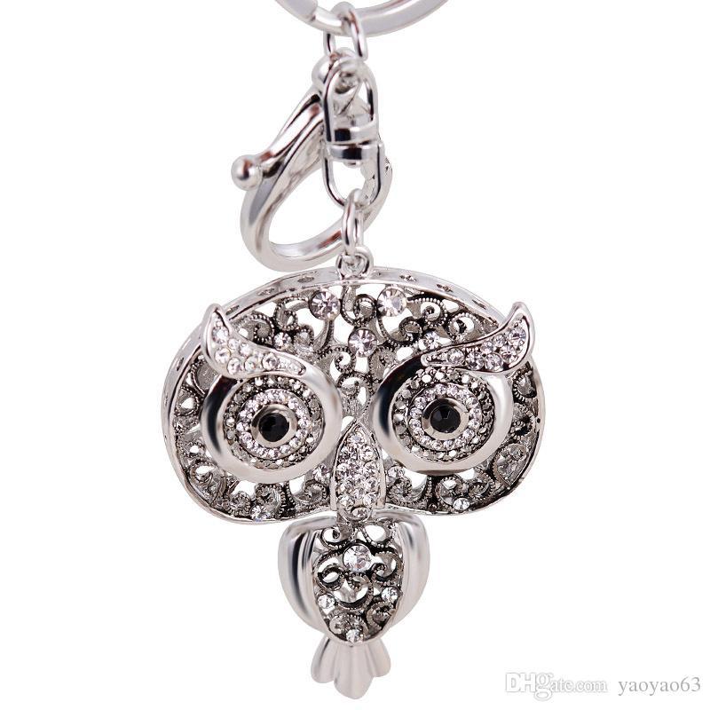 작은 다이아몬드 올빼미 패션 크리 에이 티브 선물 금속 키 체인 자동차 열쇠 고리 가방 펜던트 장식품