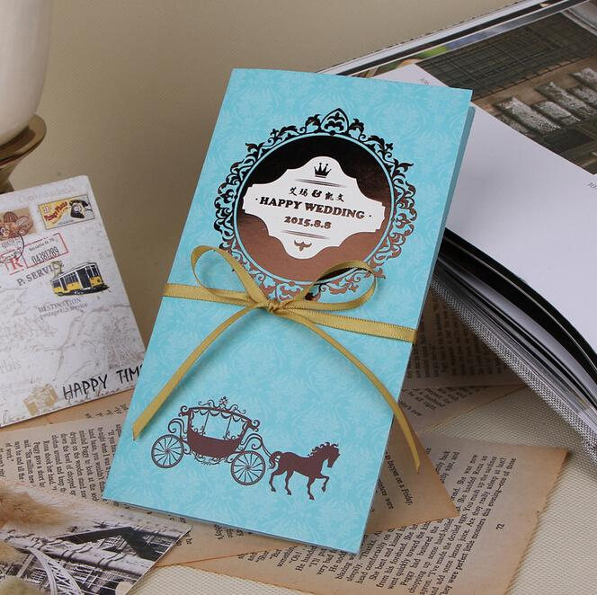 Blue Customize Wedding Cards 2016 New Style High Quality Cheap In Stock  Gold Lace Wedding Invitations Free Shipping 2015 Winter