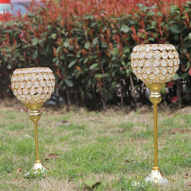 Nieuwe metalen vergulde kaarshouder met kristallen bruiloft kandelaar / centerpiece decoratie Candlestick = 2 stuks