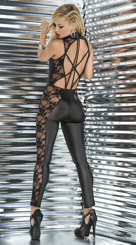 Sexy Lingerie PVC Spandex Black Lace Faux Leather Gothic Fetish Catsuit Jumpsuit Clubwear Fancy Dress 405