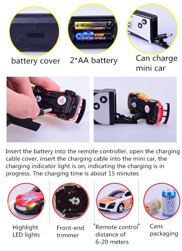 Mini-Racer Remote Control Car Coke Can Mini RC Radio Remote Control Micro Racing 1:63 Car