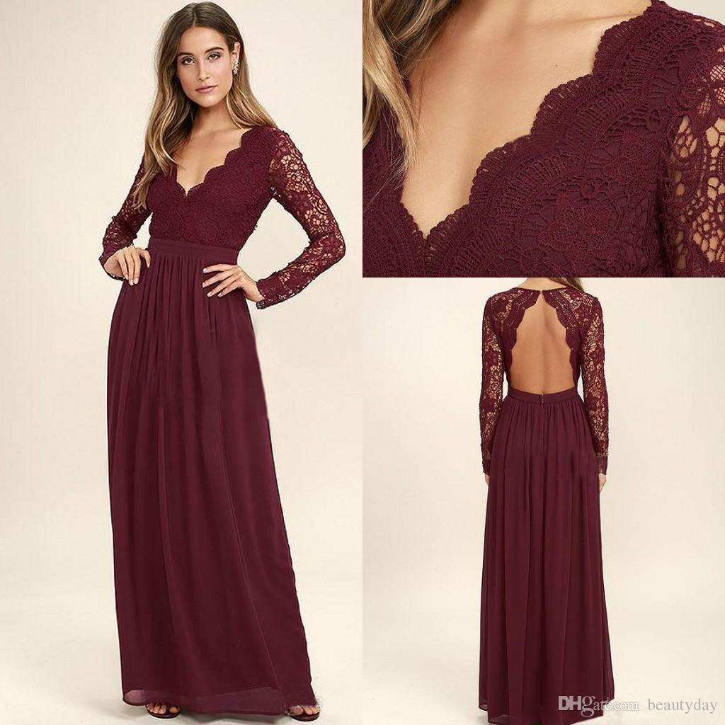 ba3e89f2858 Burgundy Long Sleeves Bridesmaid Dresses For Wedding Lace Chiffon Long  Sleeve Mermaid Maid Of Honor Gowns Wedding Guest Formal Dress 2018 Cadburys  Purple ...