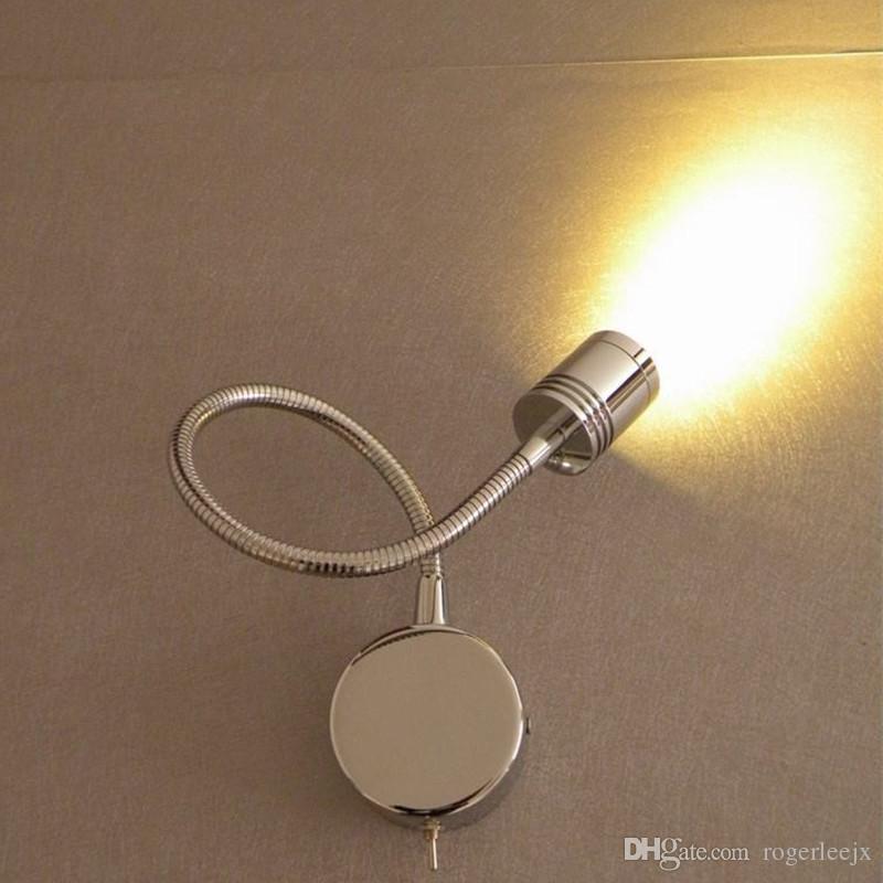 Topoch LED Wall Sconce Lampes modernes Tête cylindrique rainurée Lentille de focalisation de 30 degrés 3W Chuce de chrome 200lm Chrome Fini pour la chambre Indoor RV Bateaux