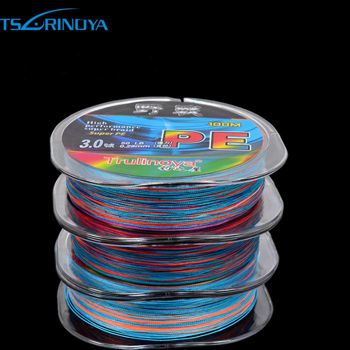 2018 Rainbow Multi Color Sinking Pe Fishing Line 4 Strands Braided ...