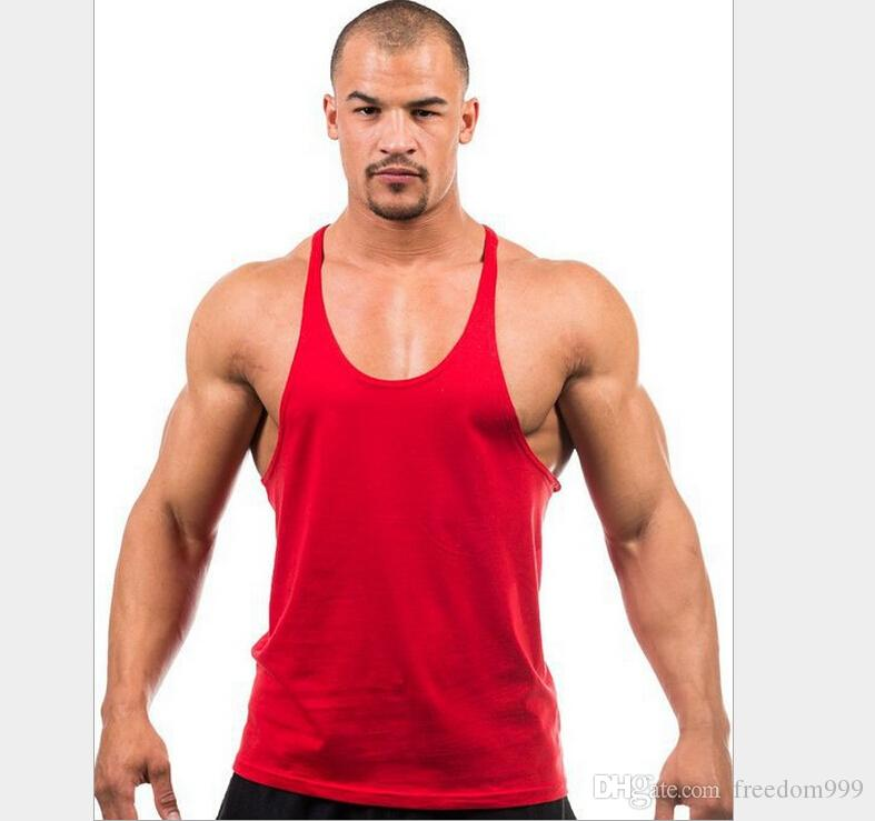 Fitness Men Blank Stringer Cotton Tank Top Singlet Bodybuilding Sport Undershirt Clothes Gym Vest Muscle Singlet for