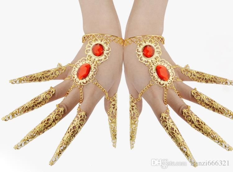 BELLY DANCE BOLLYWOOD COSTUME BIJOUX TRIBAL BIJOUX Belly Dance ongles ensemble Inde danse du ventre bracelet HJ158