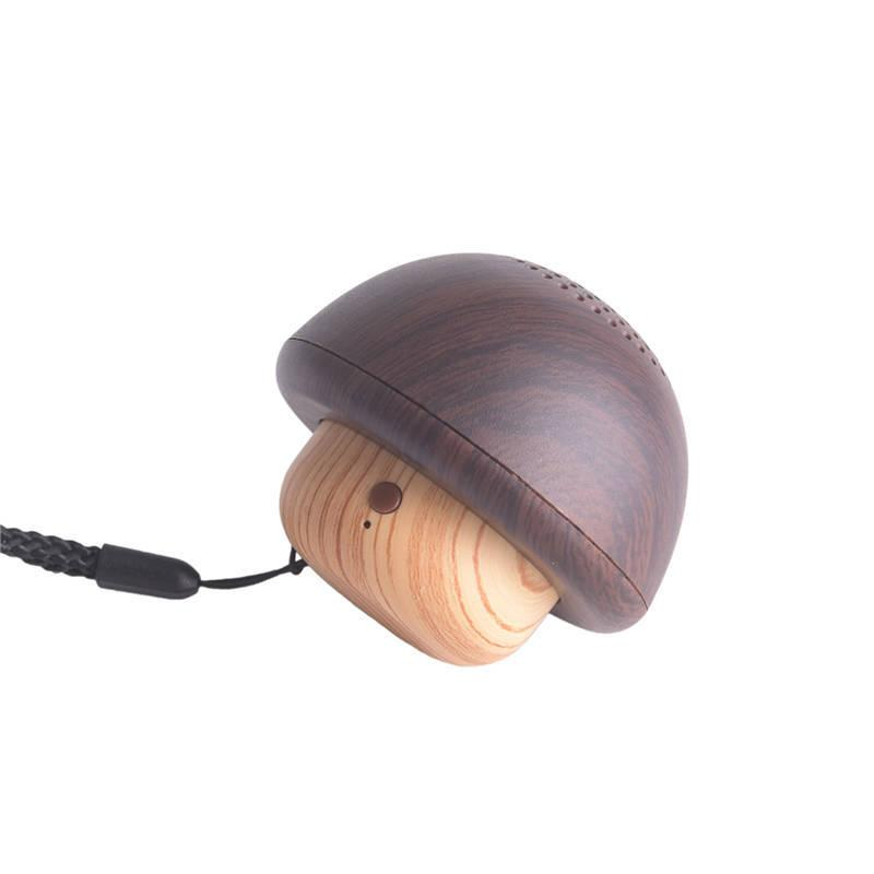 Mushroom Wireless Bluetooth Speaker Mini Portable PC-1 Cute Subwoofer Wooden Material Built-in Mic Handsfree Stereo Outdoor Player With Rope