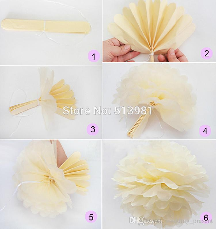 Hot ! Tissue Paper Pom Poms Paper Flowers Ball for Wedding Decorations Christmas Birthday Party 6/8/10/12/14 inches Multi-colors