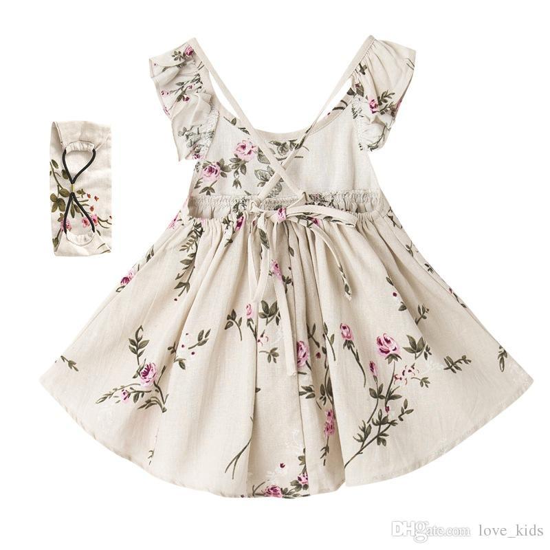 Sommer neue Stil Baby Mädchen Kleid Leinen ärmellose Kinder Kleidung Stirnband Set Floral Girls Boutique Kleidung rückenfreie Baby-Kleidung