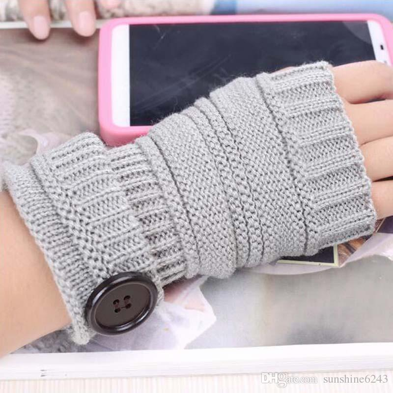 Botón de mujer de punto guantes de dedo medio Mujer de otoño de muñeca guantes de color sólido guantes Guantes de punto