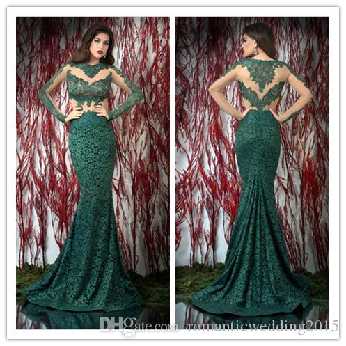 2015 Long Sleeves Lace Prom Dresses Round Neck Appliques Dark Green