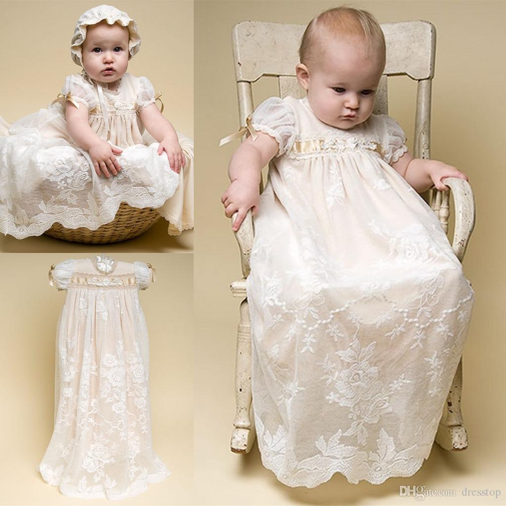 Fenghuavip Round Collar Lace Champagne Christening Infant Baby Girls Gown