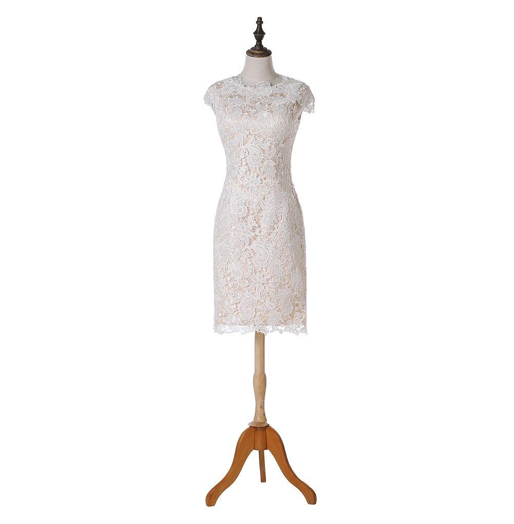 2019 Nuovi abiti da cocktail di pizzo Cappuccio manica gioiello collo guaina ginocchio lunghezza stile moda abiti da festa con cerniera posteriore su misura C59