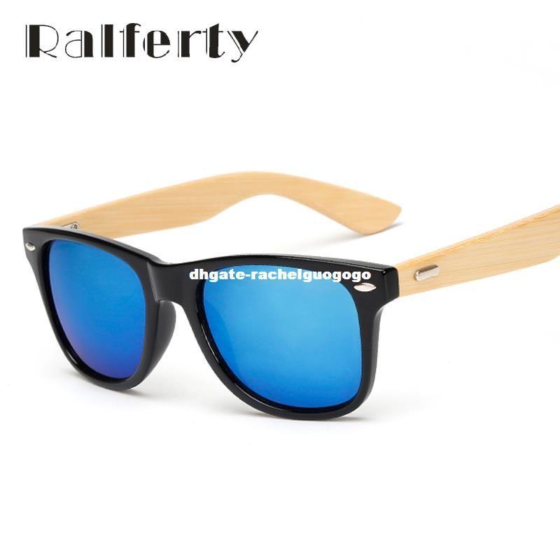 30e35cf324 Compre Ralferty Gafas De Sol De Madera Retro Hombres Gafas De Sol De Bambú  Mujeres Diseño De La Marca Sport Goggles Espejo De Oro Gafas De Sol Sombras  ...