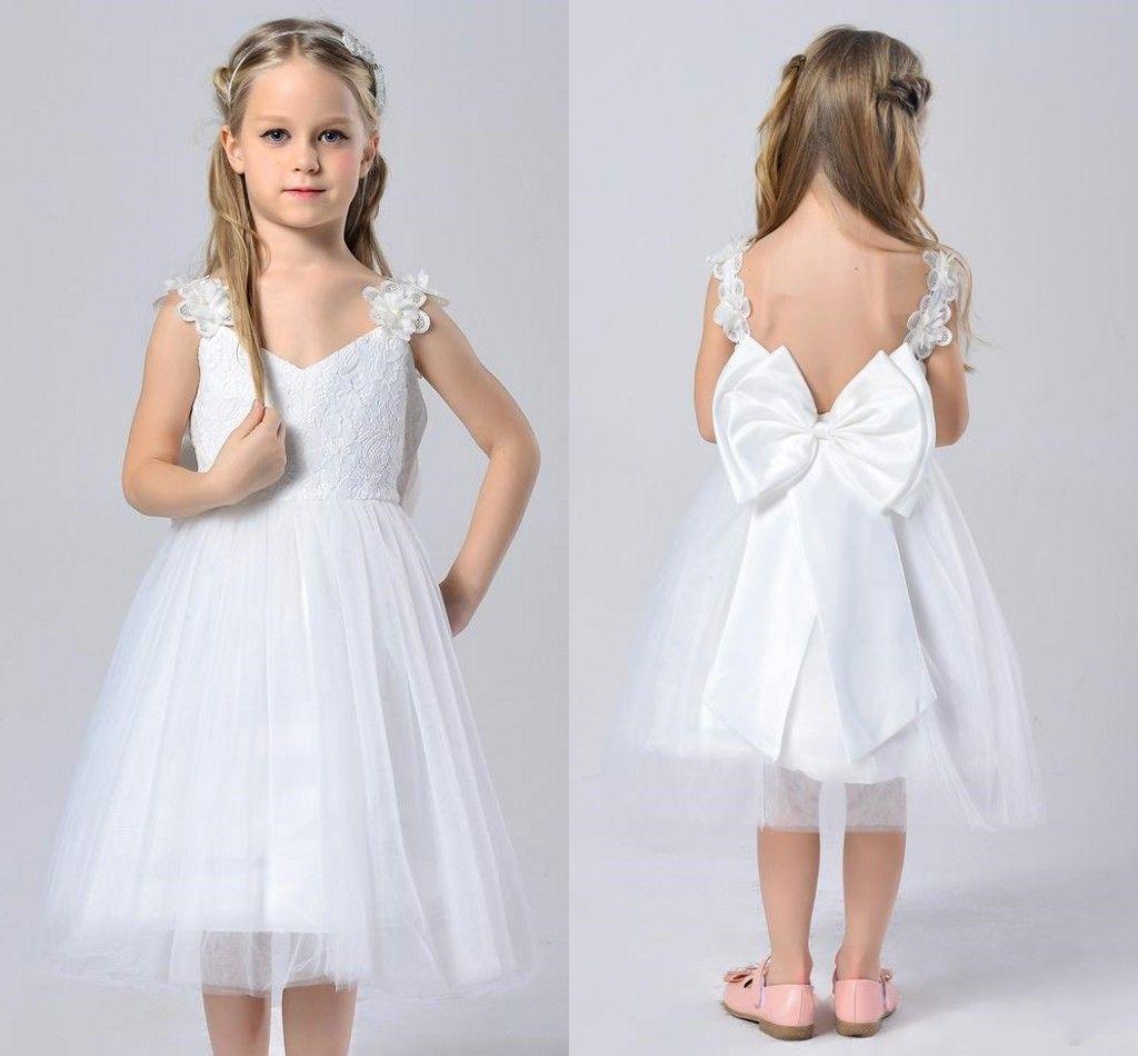 Vintage Lace Flower Girl Dresses 2017 Cheap White Spaghetti Straps