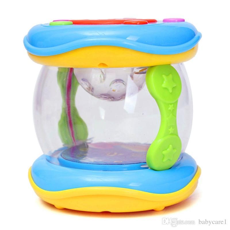 LED Musique Petite Enfance Apprentissage Éducatif Développement Bébé Bébé Hochets Drôle Enfants Infantile Jouets Mini Magie Tambour À Main