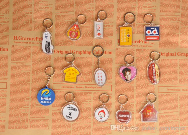 DIY Boş Fotoğraf Anahtarlıklar Şeffaf Akrilik Anahtar Zincirleri Fotoğraf Eklemek Fotoğraf Plastik Anahtarlıklar, 500 adet Ücretsiz DHL / Fedex